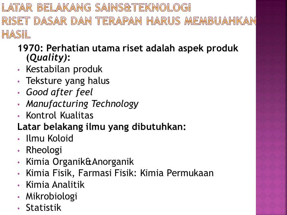 1970: Perhatian utama riset adalah aspek produk (Quality): Kestabilan produk Teksture yang halus Good after feel Manufacturing Technology Kontrol Kual