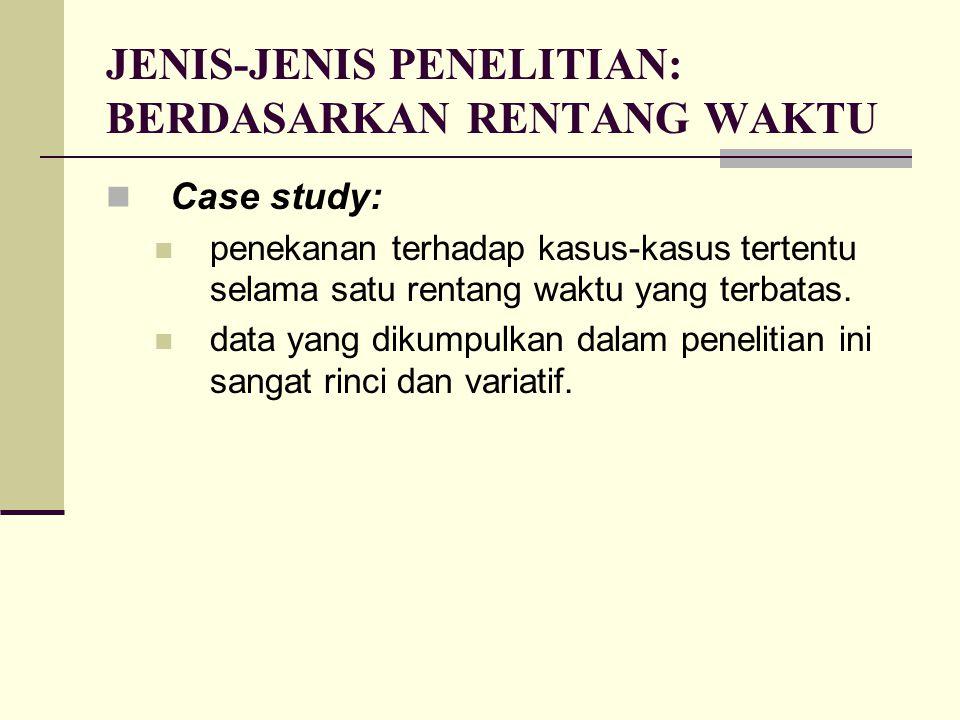 JENIS-JENIS PENELITIAN: BERDASARKAN RENTANG WAKTU Case study: penekanan terhadap kasus-kasus tertentu selama satu rentang waktu yang terbatas. data ya