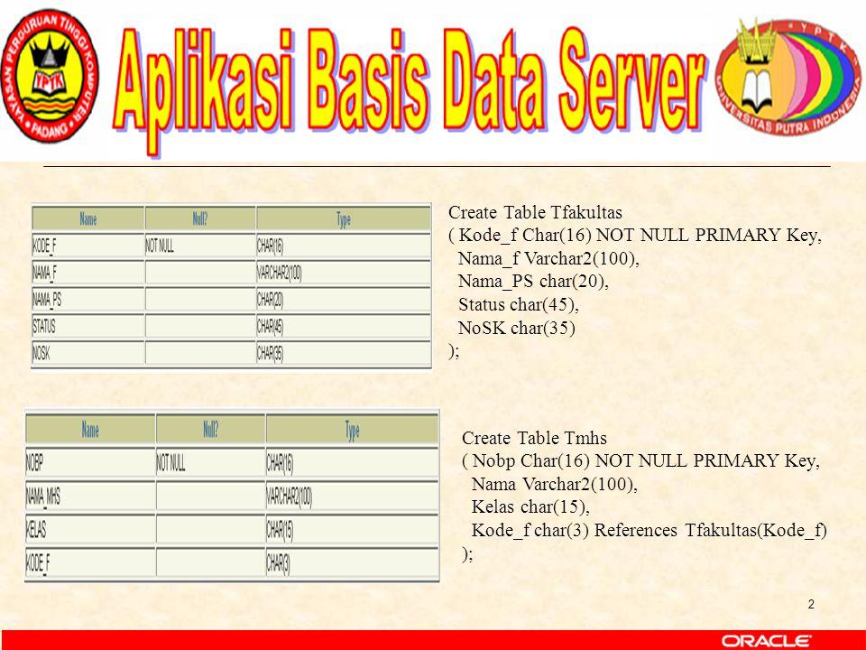 2 Create Table Tfakultas ( Kode_f Char(16) NOT NULL PRIMARY Key, Nama_f Varchar2(100), Nama_PS char(20), Status char(45), NoSK char(35) ); Create Tabl