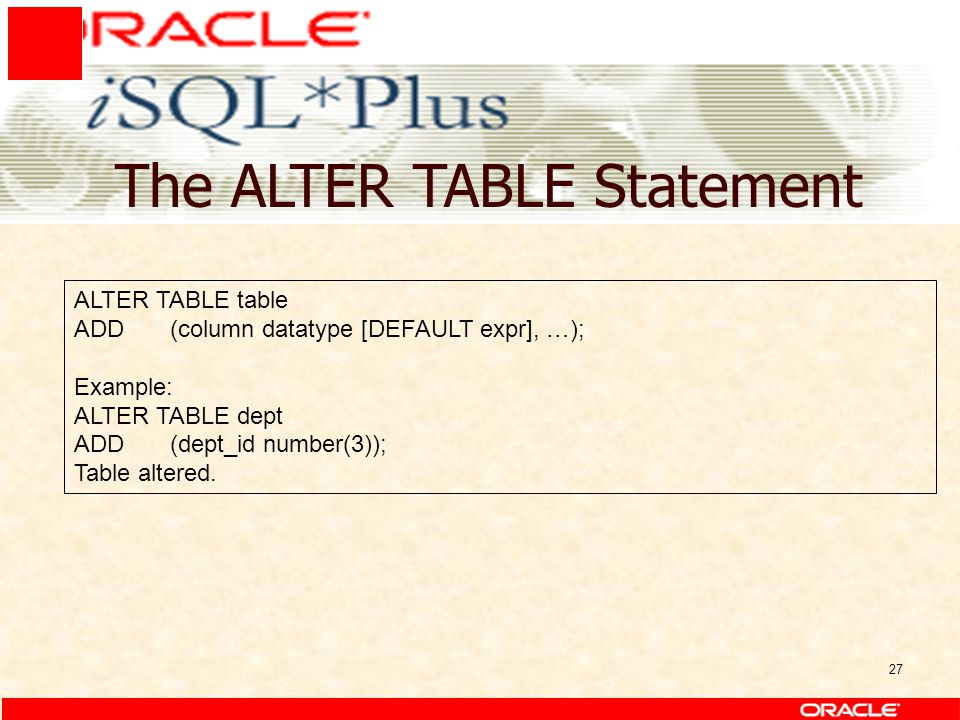27 The ALTER TABLE Statement ALTER TABLE table ADD(column datatype [DEFAULT expr], …); Example: ALTER TABLE dept ADD(dept_id number(3)); Table altered