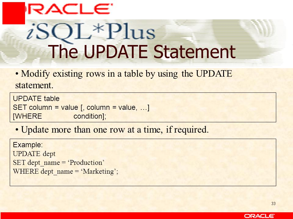 33 The UPDATE Statement UPDATE table SET column = value [, column = value, …] [WHERE condition]; Modify existing rows in a table by using the UPDATE statement.