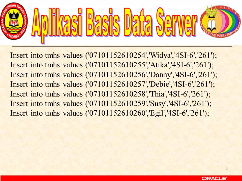 6 Insert into tnilai values ( KKKI53001 , 07101152610260 ,80,75,60,60); Insert into tnilai values ( KKKI52002 , 07101152610260 ,80,85,65,75); Insert into tnilai values ( KKKI53011 , 07101152610260 ,70,55,70,80); Insert into tnilai values ( KKKI53012 , 07101152610260 ,80,65,80,90); Insert into tnilai values ( KKKI52005 , 07101152610260 ,90,75,90,60); Insert into tnilai values ( KKKI52006 , 07101152610260 ,60,65,80,70); Insert into tnilai values ( KKKI53001 , 07101152610254 ,80,75,60,60); Insert into tnilai values ( KKKI52002 , 07101152610254 ,80,85,65,75); Insert into tnilai values ( KKKI53011 , 07101152610254 ,70,55,70,80); Insert into tnilai values ( KKKI53012 , 07101152610254 ,80,65,80,90); Insert into tnilai values ( KKKI52005 , 07101152610254 ,90,75,90,60); Insert into tnilai values ( KKKI52006 , 07101152610254 ,60,65,80,70); Insert into tnilai values ( KKKI53007 , 07101152610254 ,70,55,90,80); Insert into tnilai values ( KKKI53001 , 07101152610255 ,80,75,60,60); Insert into tnilai values ( KKKI52002 , 07101152610255 ,80,85,65,75); Insert into tnilai values ( KKKI53011 , 07101152610255 ,70,55,70,80); Insert into tnilai values ( KKKI53012 , 07101152610255 ,80,65,80,90); Insert into tnilai values ( KKKI52005 , 07101152610255 ,90,75,90,60); Insert into tnilai values ( KKKI52006 , 07101152610255 ,60,65,80,70); Insert into tnilai values ( KKKI53007 , 07101152610255 ,70,55,90,80); Insert into tnilai values ( KKKI53001 , 07101152610256 ,80,75,60,60);