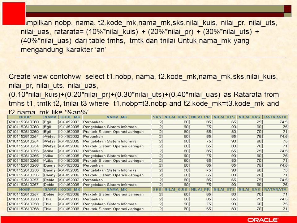 56 Create view contohvw select t1.nobp, nama, t2.kode_mk,nama_mk,sks,nilai_kuis, nilai_pr, nilai_uts, nilai_uas, (0.10*nilai_kuis)+(0.20*nilai_pr)+(0.