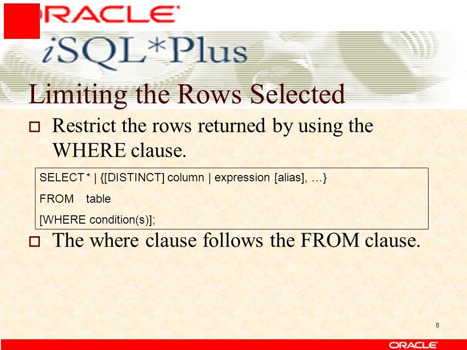 9 Using the WHERE Clause SELECTKode_f, Nama_f, Nama_PS, substr(Kode_f,1,2) as Kode_Fak FROMtfakultas WHERE substr(Kode_f,1,2)=26;