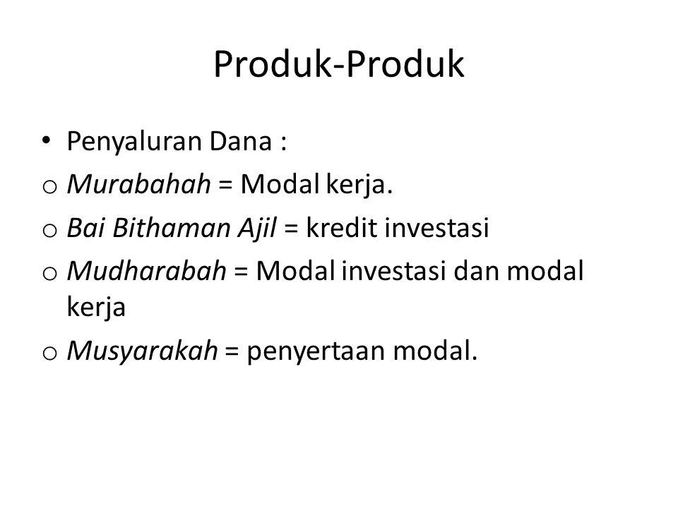 Produk-Produk Penyaluran Dana : o Murabahah = Modal kerja.