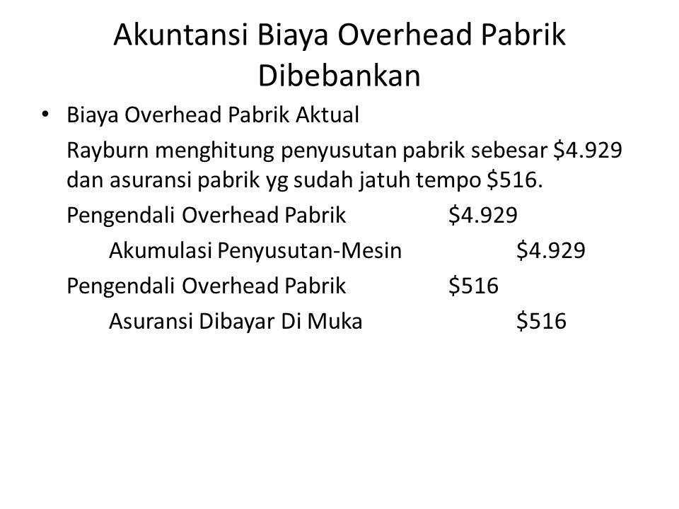 Akuntansi Biaya Overhead Pabrik Dibebankan Biaya Overhead Pabrik Aktual Rayburn menghitung penyusutan pabrik sebesar $4.929 dan asuransi pabrik yg sud