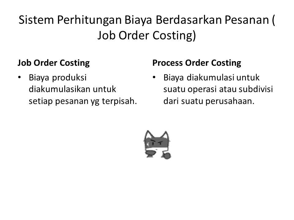 Sistem Perhitungan Biaya Berdasarkan Pesanan ( Job Order Costing) Job Order Costing Biaya produksi diakumulasikan untuk setiap pesanan yg terpisah. Pr