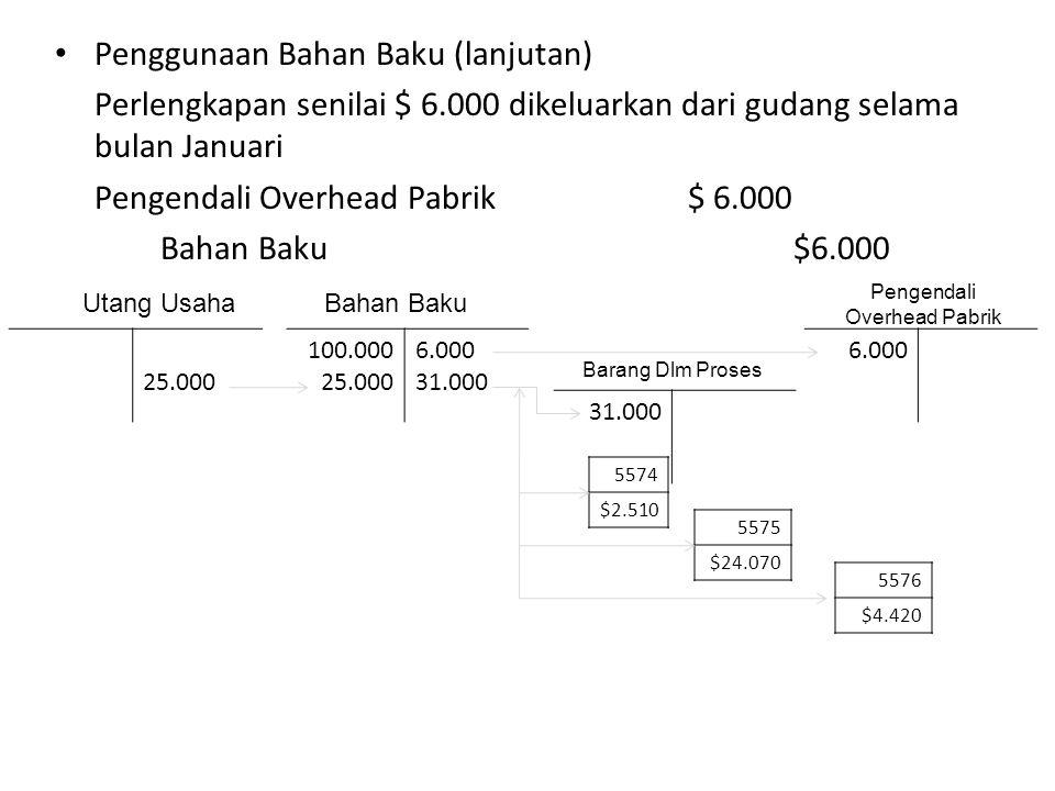 Penggunaan Bahan Baku (lanjutan) Perlengkapan senilai $ 6.000 dikeluarkan dari gudang selama bulan Januari Pengendali Overhead Pabrik$ 6.000 Bahan Bak