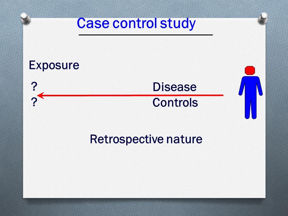 Case control study Disease Controls Exposure ???? Retrospective nature