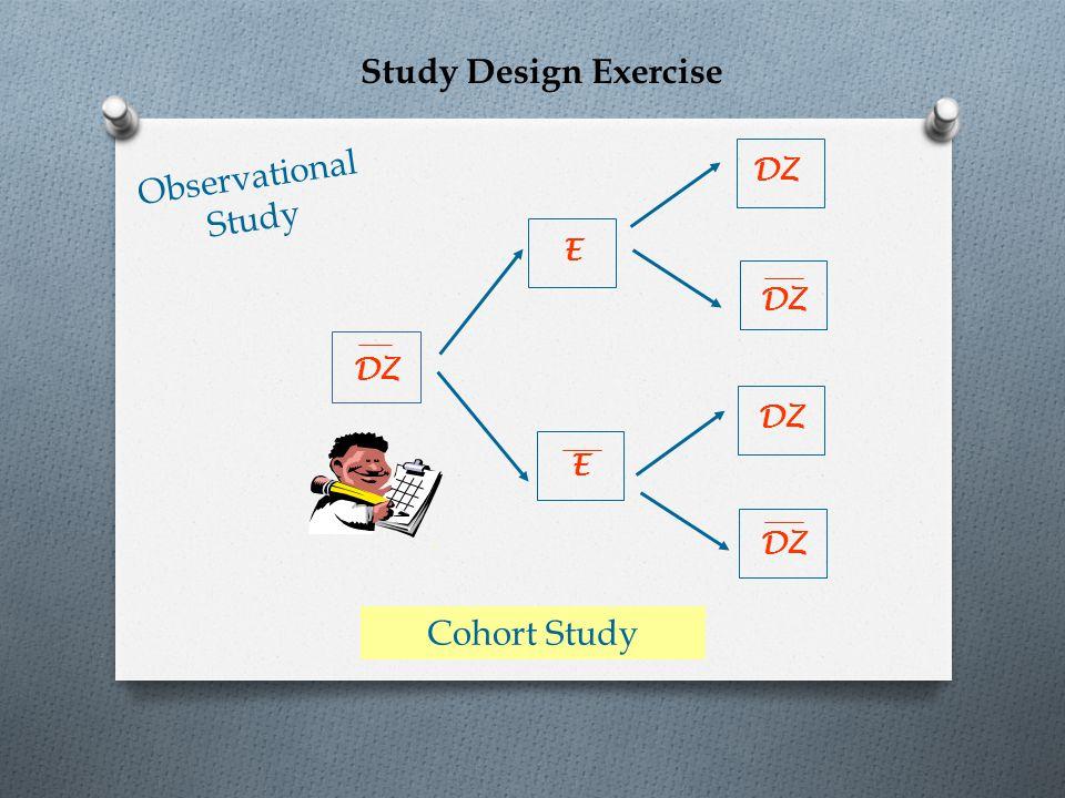 E E DZ Observational Study DZ - Cohort Study Study Design Exercise
