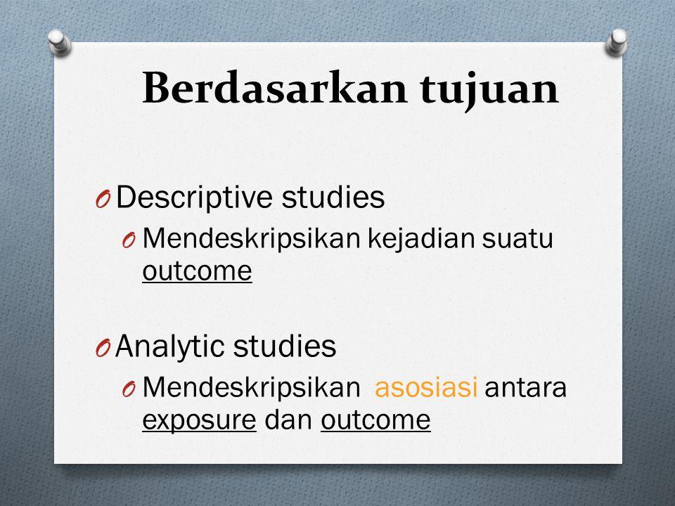 Taksonomi Penelitian Epidemiologi O Berdasarkan tujuan: O Berdasarkan bingkai waktu O Berdasarkan ada tidaknya perlakuan O Berdasarkan penelusuran seb