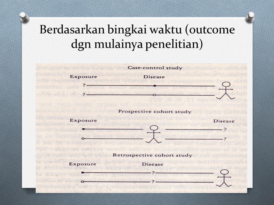 Berdasarkan tujuan 1. Diskriptif: a. Laporan kasus b. Seri kasus c. Studi kros-seksional d. Studi ekologi 2. Analitik: a. Kros Seksional b. Kasus-kont
