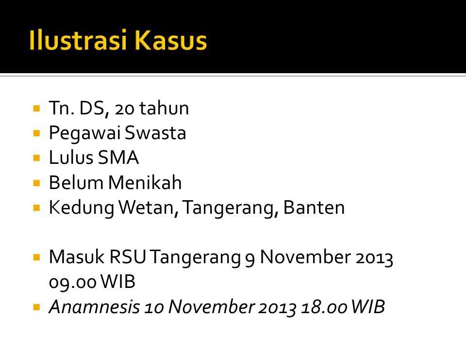  Tn. DS, 20 tahun  Pegawai Swasta  Lulus SMA  Belum Menikah  Kedung Wetan, Tangerang, Banten  Masuk RSU Tangerang 9 November 2013 09.00 WIB  An