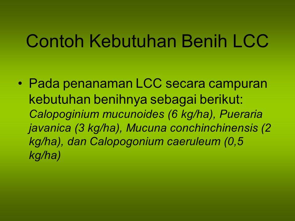 Contoh Kebutuhan Benih LCC Pada penanaman LCC secara campuran kebutuhan benihnya sebagai berikut: Calopoginium mucunoides (6 kg/ha), Pueraria javanica
