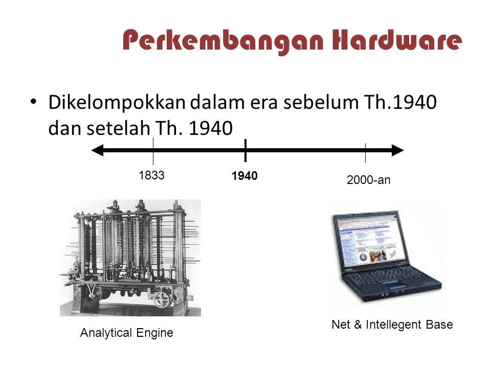 Perkembangan Hardware Dikelompokkan dalam era sebelum Th.1940 dan setelah Th. 1940 1940 1833 Analytical Engine 2000-an Net & Intellegent Base