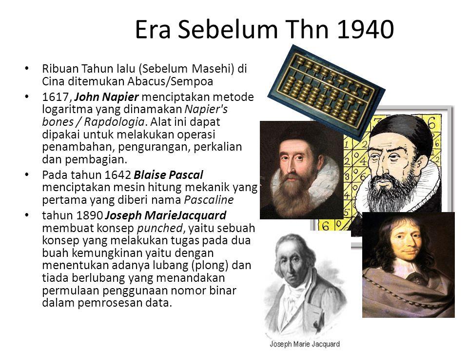 Era Sebelum Thn 1940 Ribuan Tahun lalu (Sebelum Masehi) di Cina ditemukan Abacus/Sempoa 1617, John Napier menciptakan metode logaritma yang dinamakan Napier s bones / Rapdologia.