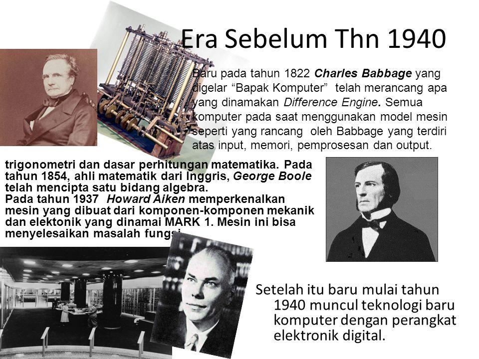 Era Sebelum Thn 1940 Setelah itu baru mulai tahun 1940 muncul teknologi baru komputer dengan perangkat elektronik digital.