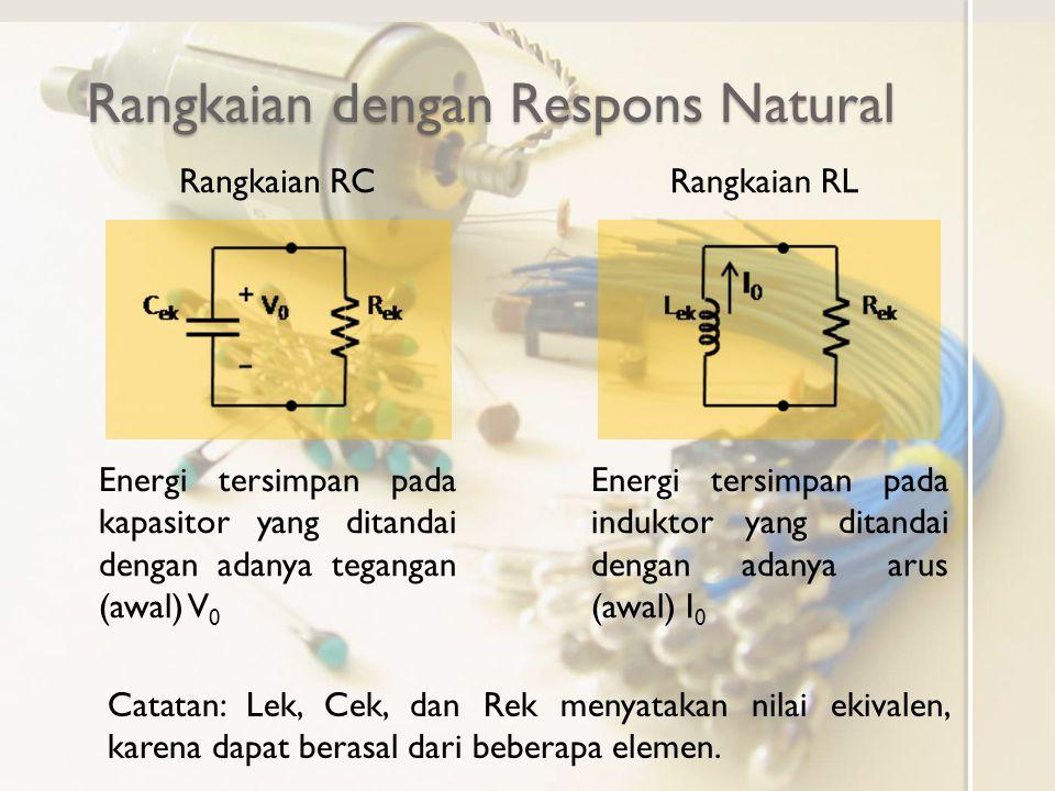 Respons Natural Rangkaian RC Pada rangkaian berikut, saklar telah terhubung lama ke sumber tegangan dan pada t=0 diputuskan Sesaat sebelum diputuskan, tegangan kapasitor V C sama dengan tegangan sumber V S Untuk t=0 maka rangkaian menjadi Tegangan dan arus pada rangkaian untuk t>0 Untuk t>0
