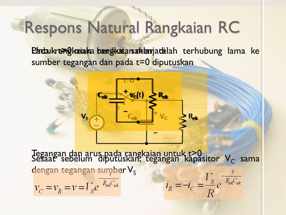 Respons Natural Rangkaian RC Respons rangkaian RC tanpa sumber bebas (t>0) ini merupakan respons natural Bentuk respons arus dan tegangan natural hanya ditentukan oleh nilai elemen rangkaian R ek dan C ek Tegangan awal V S hanya menentukan magnituda dan tidak menentukan bentuk responsnya Besar tegangan dan arus fungsi waktu ternormalisasi nilai awal