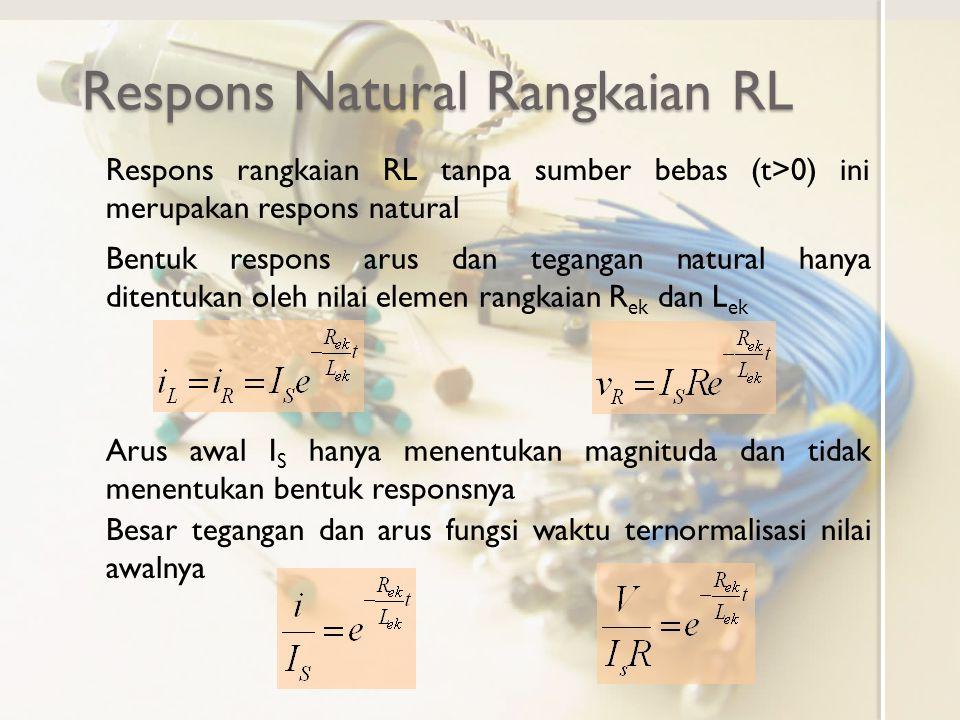 Respons Natural Rangkaian RL Respons rangkaian RL tanpa sumber bebas (t>0) ini merupakan respons natural Bentuk respons arus dan tegangan natural hany