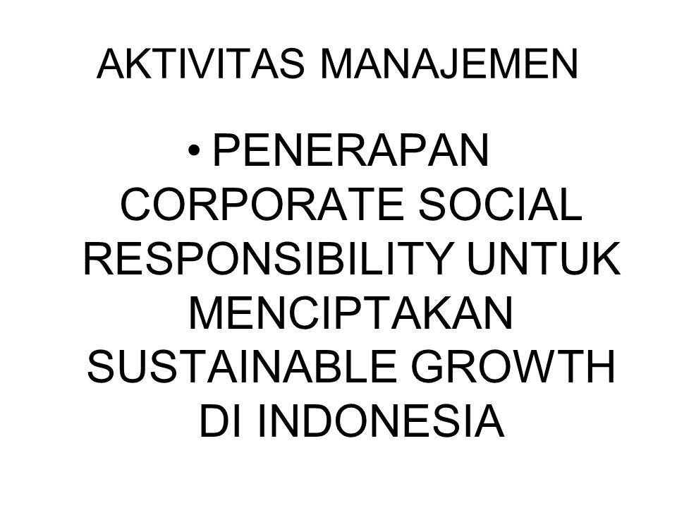 AKTIVITAS MANAJEMEN PENERAPAN CORPORATE SOCIAL RESPONSIBILITY UNTUK MENCIPTAKAN SUSTAINABLE GROWTH DI INDONESIA