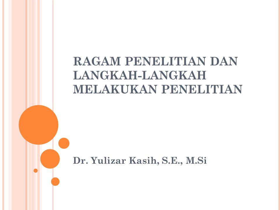 RAGAM PENELITIAN DAN LANGKAH-LANGKAH MELAKUKAN PENELITIAN Dr. Yulizar Kasih, S.E., M.Si