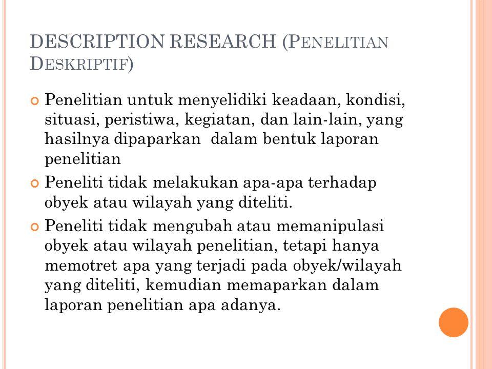 DESCRIPTION RESEARCH (P ENELITIAN D ESKRIPTIF ) Penelitian untuk menyelidiki keadaan, kondisi, situasi, peristiwa, kegiatan, dan lain-lain, yang hasilnya dipaparkan dalam bentuk laporan penelitian Peneliti tidak melakukan apa-apa terhadap obyek atau wilayah yang diteliti.