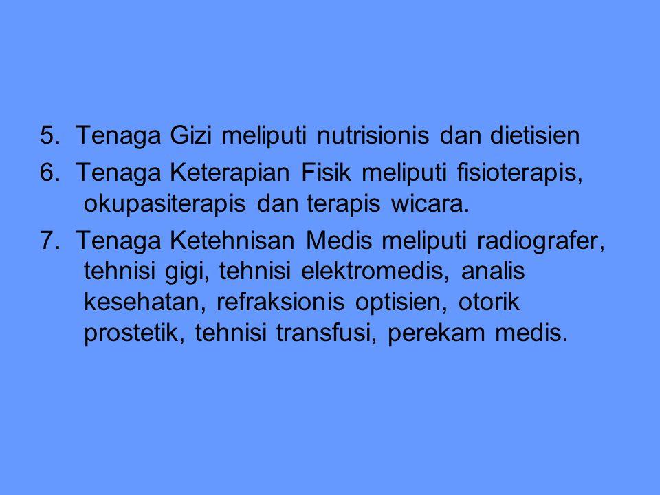 5. Tenaga Gizi meliputi nutrisionis dan dietisien 6. Tenaga Keterapian Fisik meliputi fisioterapis, okupasiterapis dan terapis wicara. 7. Tenaga Keteh