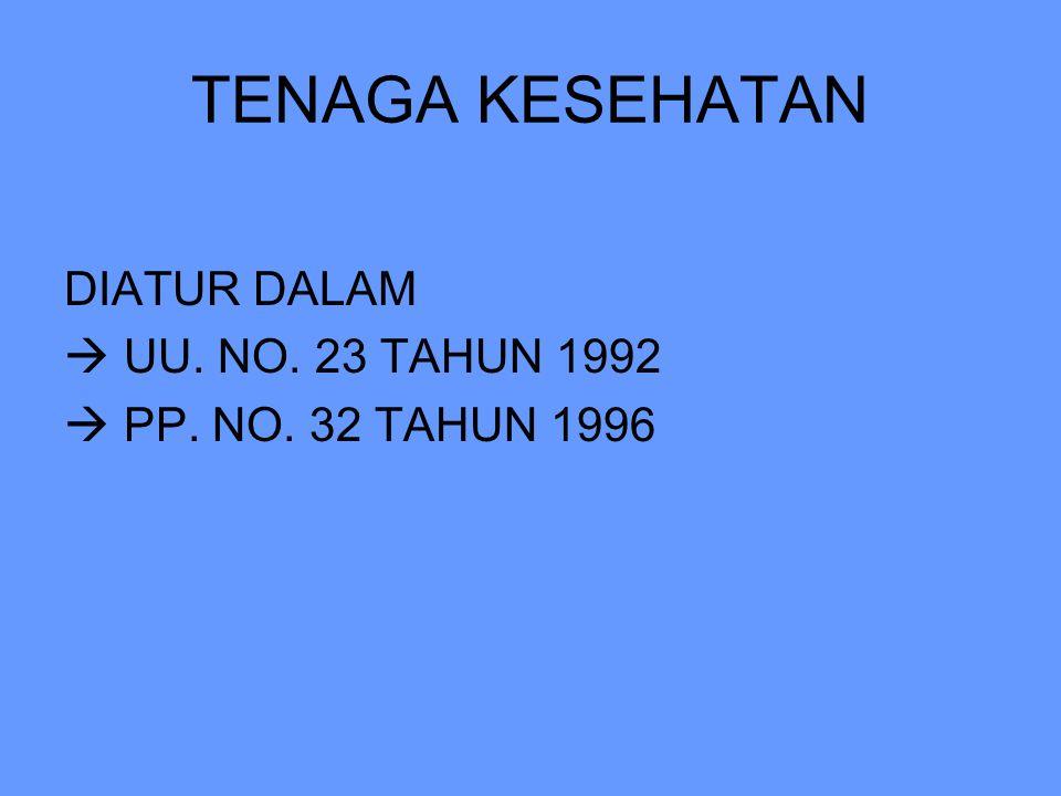 DIATUR DALAM  UU. NO. 23 TAHUN 1992  PP. NO. 32 TAHUN 1996