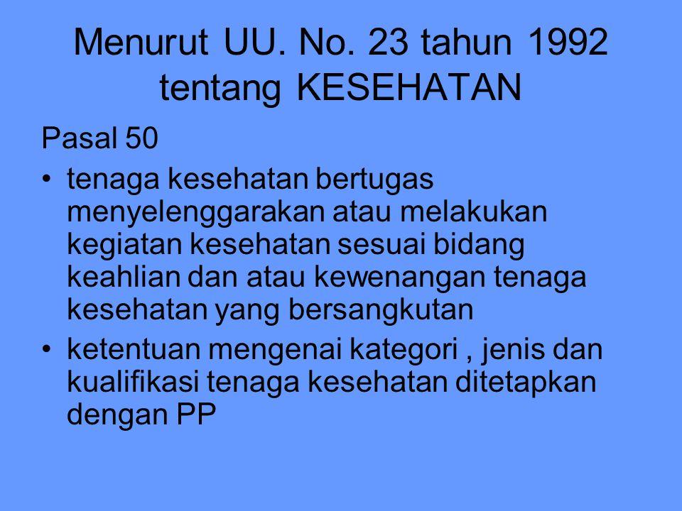 Menurut UU. No. 23 tahun 1992 tentang KESEHATAN Pasal 50 tenaga kesehatan bertugas menyelenggarakan atau melakukan kegiatan kesehatan sesuai bidang ke