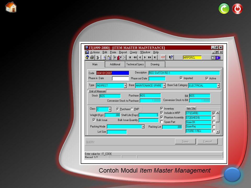 Contoh Modul Item Master Management