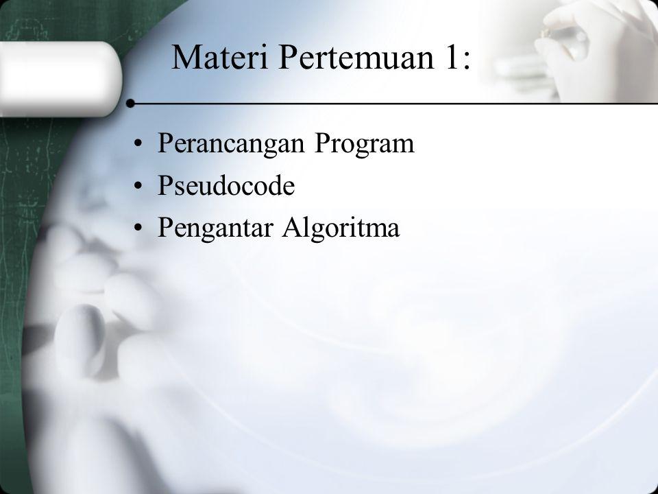 Perancangan Program Tujuh langkah dasar dalam pengembangan program : 1.Definisi Masalah 2.Outline Solusi 3.Pengembangan outline ke dalam algoritma 4.Melakukan test terhadap algoritma 5.Memindahkan algoritma ke dalam bahasa pemrograman 6.Menjalankan program pada komputer 7.Dokumentasi dan pemeliharaan program