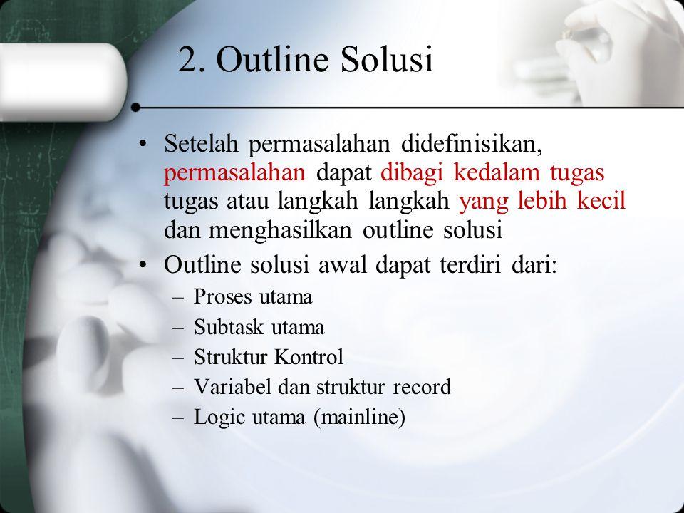 Contoh Desk Checking: –Data input: Data 1Data 2 Bil_11020 Bil_2510