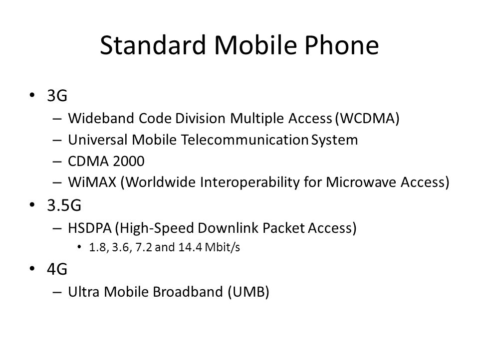 Standard Mobile Phone 3G – Wideband Code Division Multiple Access (WCDMA) – Universal Mobile Telecommunication System – CDMA 2000 – WiMAX (Worldwide I
