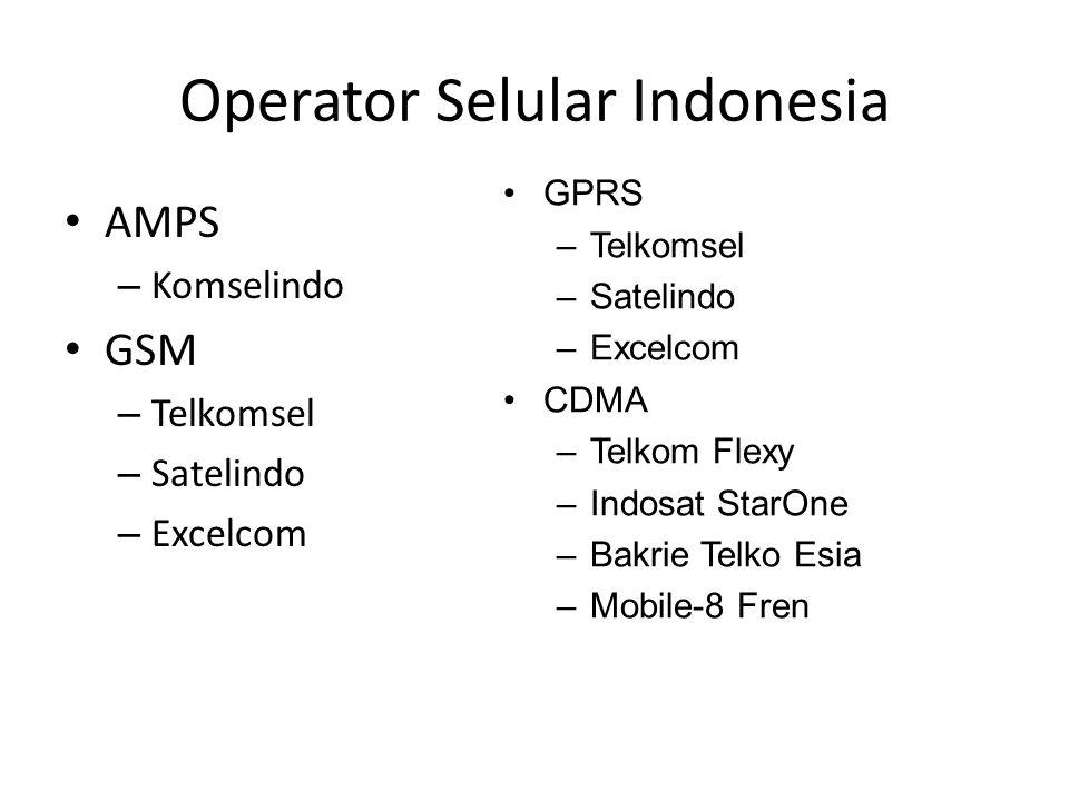 Operator Selular Indonesia AMPS – Komselindo GSM – Telkomsel – Satelindo – Excelcom GPRS –Telkomsel –Satelindo –Excelcom CDMA –Telkom Flexy –Indosat S