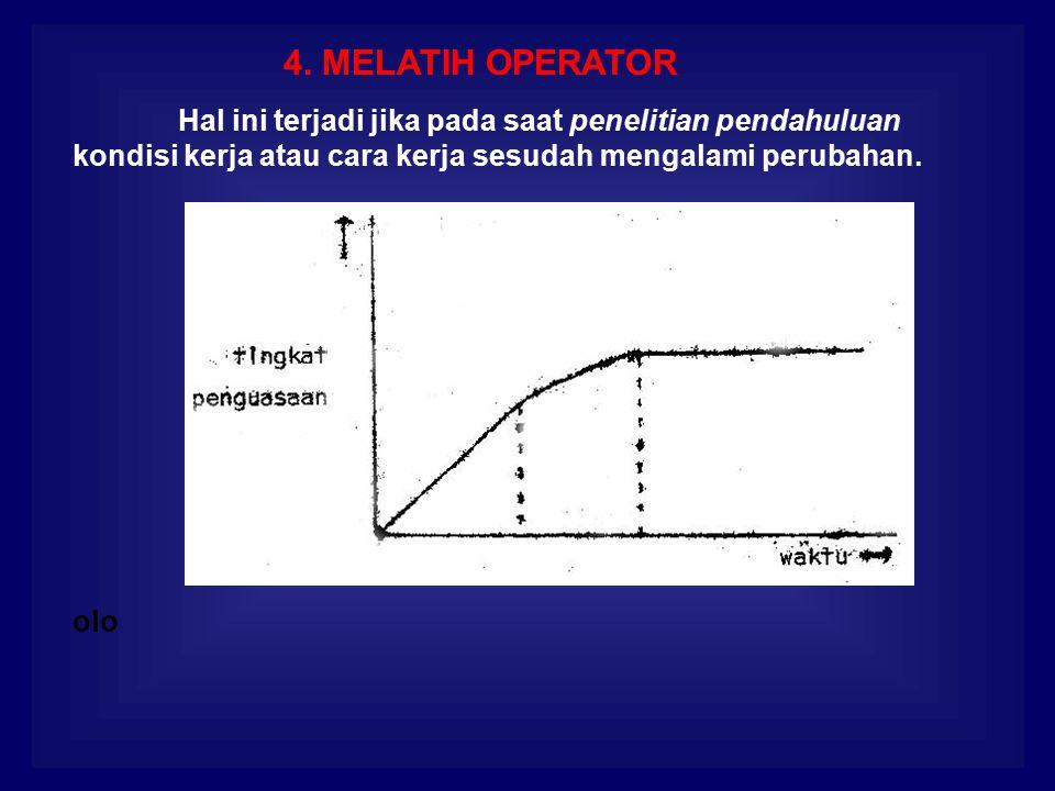 4. MELATIH OPERATOR Hal ini terjadi jika pada saat penelitian pendahuluan kondisi kerja atau cara kerja sesudah mengalami perubahan. olo