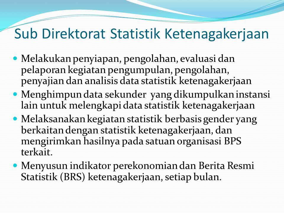 Sub Direktorat Statistik Ketenagakerjaan Melakukan penyiapan, pengolahan, evaluasi dan pelaporan kegiatan pengumpulan, pengolahan, penyajian dan anali