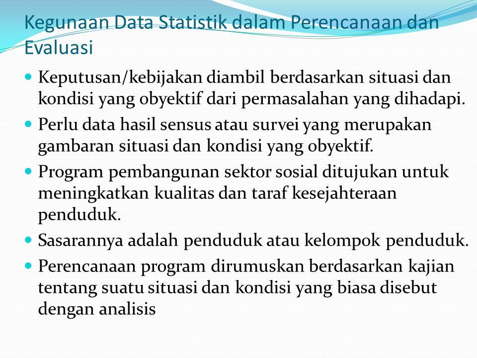 Kegunaan Data Statistik dalam Perencanaan dan Evaluasi Keputusan/kebijakan diambil berdasarkan situasi dan kondisi yang obyektif dari permasalahan yan