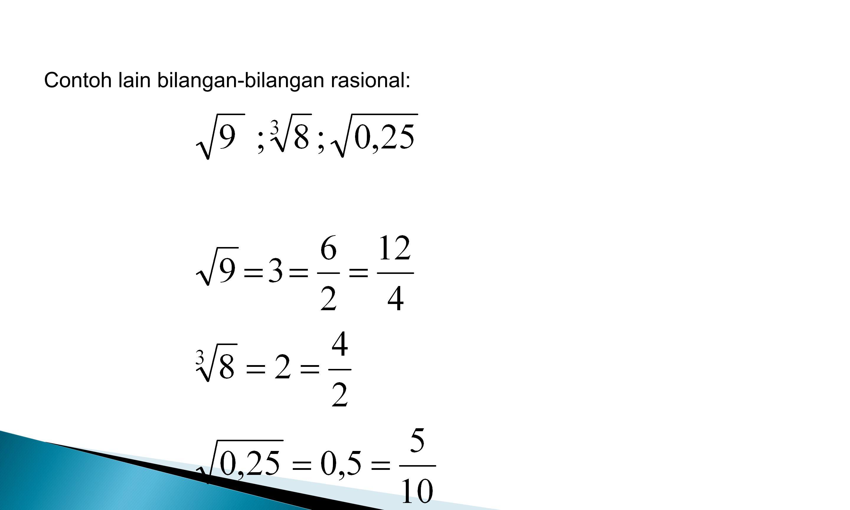Bilangan Irrasional Bilangan irrasional adalah bilangan yang tidak dapat dinyatakan dalam bentuk p/q, dengan p,q € B, q ≠ 0 Contoh : Bilangan –bilangan ini tidak dapat dinyatakan dalam bentuk p/q, dengan p, q,€ B, q ≠ 0