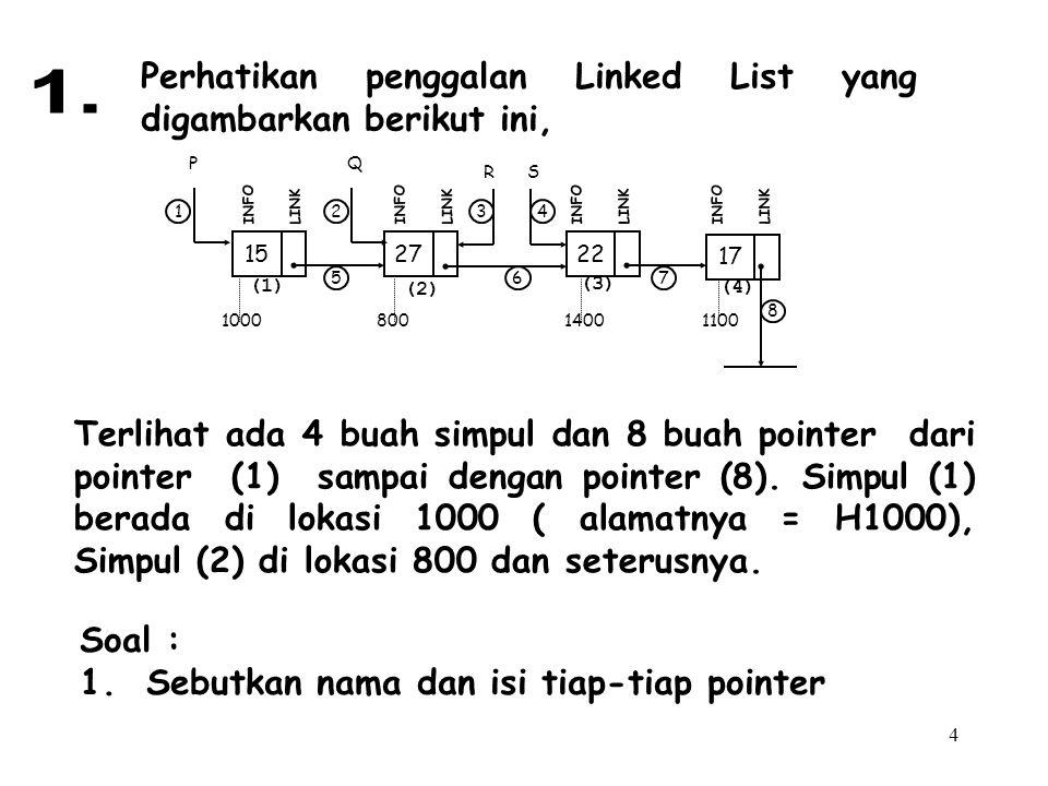 4 Perhatikan penggalan Linked List yang digambarkan berikut ini, Terlihat ada 4 buah simpul dan 8 buah pointer dari pointer (1) sampai dengan pointer