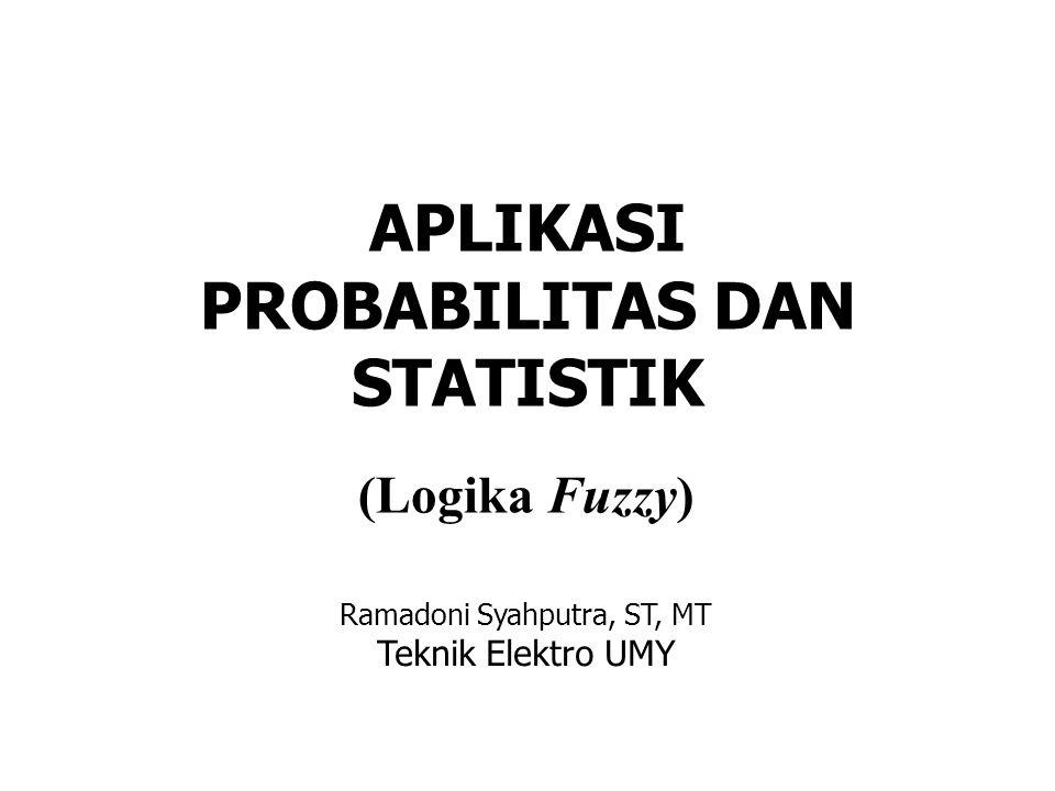 APLIKASI PROBABILITAS DAN STATISTIK (Logika Fuzzy) Ramadoni Syahputra, ST, MT Teknik Elektro UMY