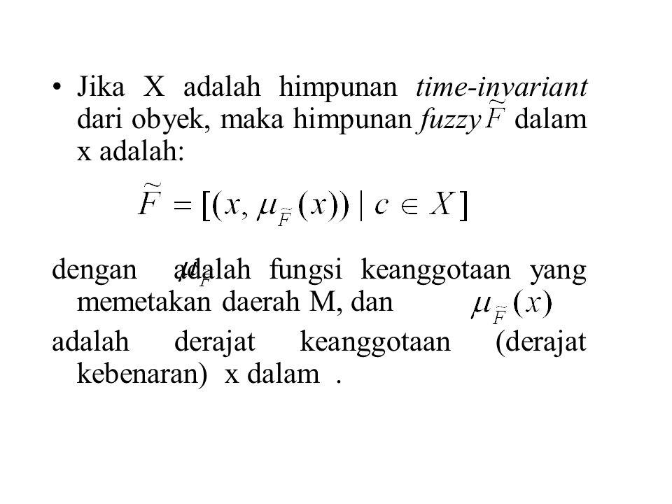 Jika X adalah himpunan time-invariant dari obyek, maka himpunan fuzzy dalam x adalah: dengan adalah fungsi keanggotaan yang memetakan daerah M, dan adalah derajat keanggotaan (derajat kebenaran) x dalam.