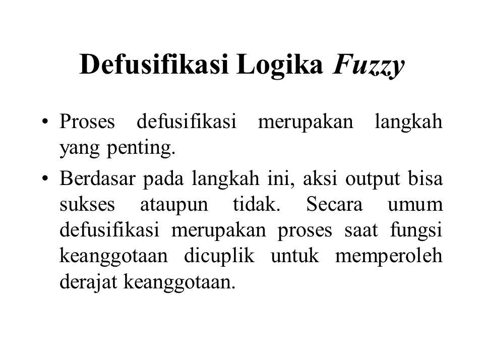 Defusifikasi Logika Fuzzy Proses defusifikasi merupakan langkah yang penting.