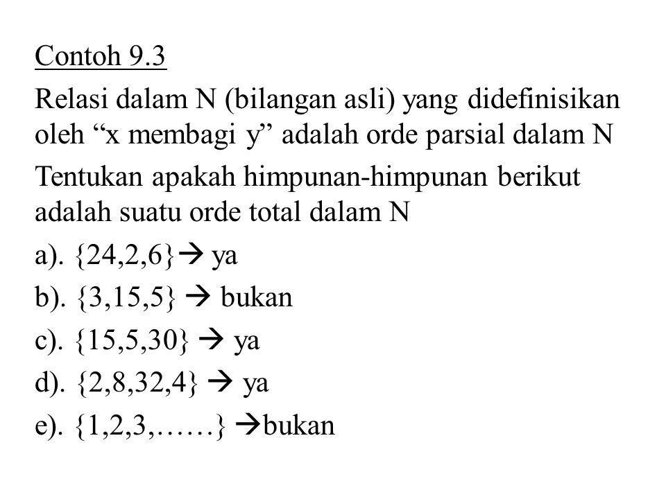 """Contoh 9.3 Relasi dalam N (bilangan asli) yang didefinisikan oleh """"x membagi y"""" adalah orde parsial dalam N Tentukan apakah himpunan-himpunan berikut"""