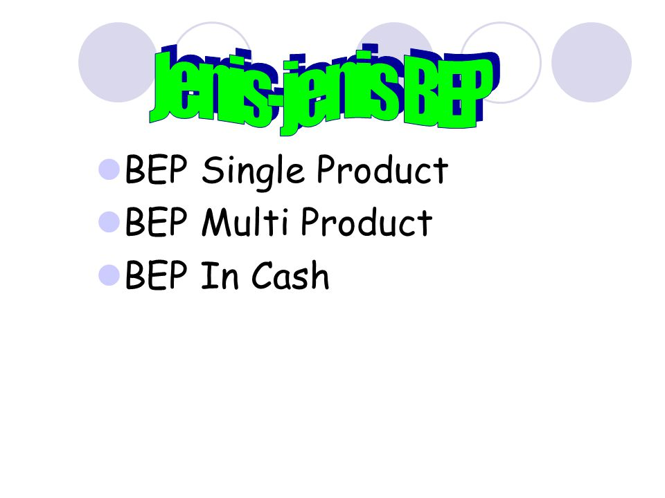 BEP Single Product BEP Multi Product BEP In Cash