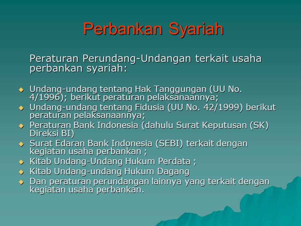 Perbankan Syariah Perbankan Syariah Peraturan Perundang-Undangan terkait usaha perbankan syariah:  Undang-undang tentang Hak Tanggungan (UU No. 4/199