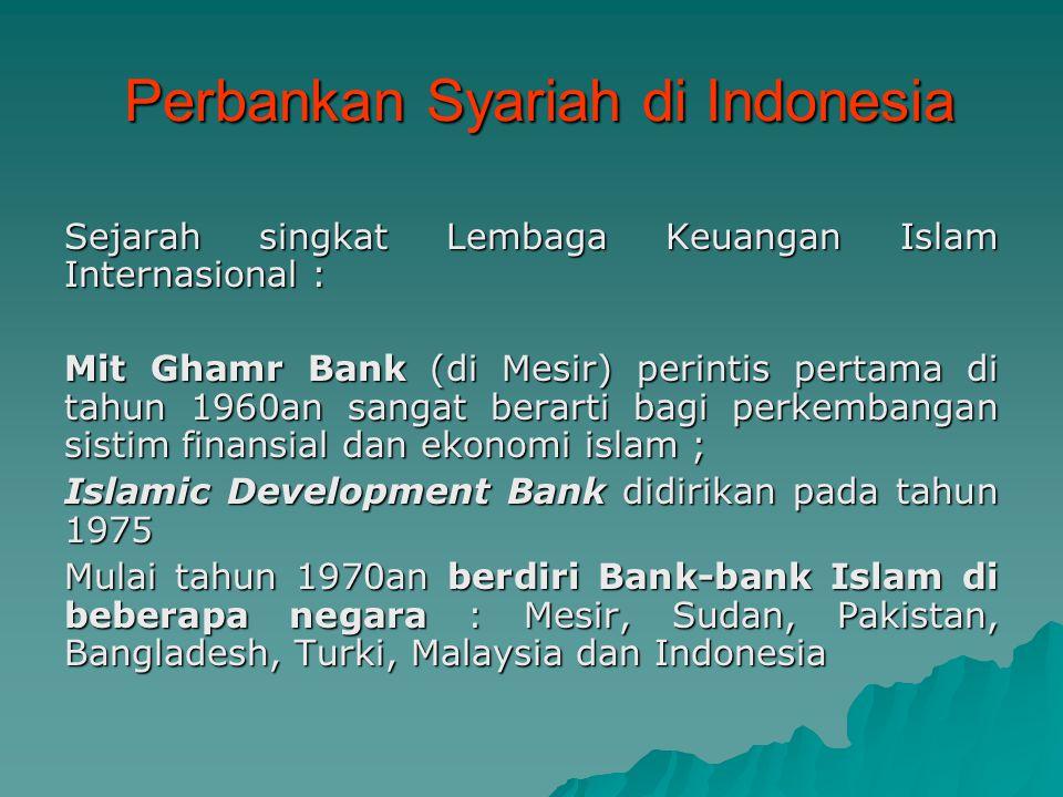 Perbankan Syariah di Indonesia Perbankan Syariah di Indonesia Sejarah singkat Lembaga Keuangan Islam Internasional : Mit Ghamr Bank (di Mesir) perinti