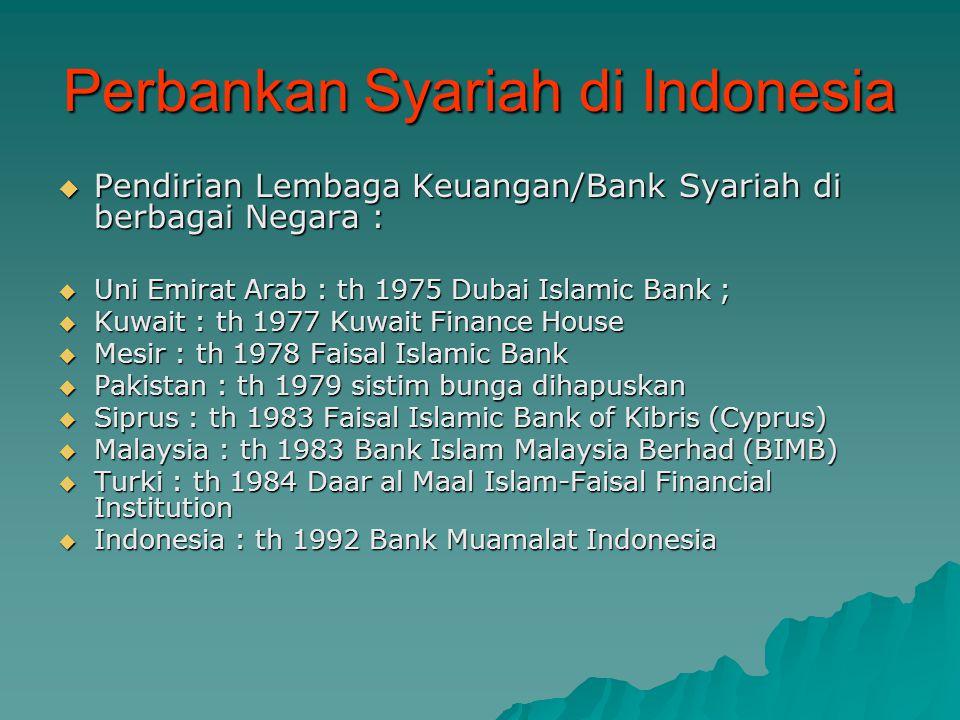 Perbankan Syariah di Indonesia  Latar belakang PendirianPerbankan Syariah di Indonesia  Ummat islam memandang perlunya layanan perbankan yang lebih baik dan adil (Bank Islam = bebas riba)  19-22 Agustus 1990 Lokakarya tentang Bank Islam di Cisarua, Bogor oleh MUI  22-25 Agustus 1990 dalam Munas IV MUI disepakati untuk mendirikan Bank Islam  November 1991 didirikan PT BMI  Maret 1992 BMI mulai beroperasi  Oktober 1994 BMI menjadi Bank Devisa  Setelah beroperasinya BMI, mulai bertumbuhan BPRS di berbagai wilayah Indonesia  Dengan UU No.