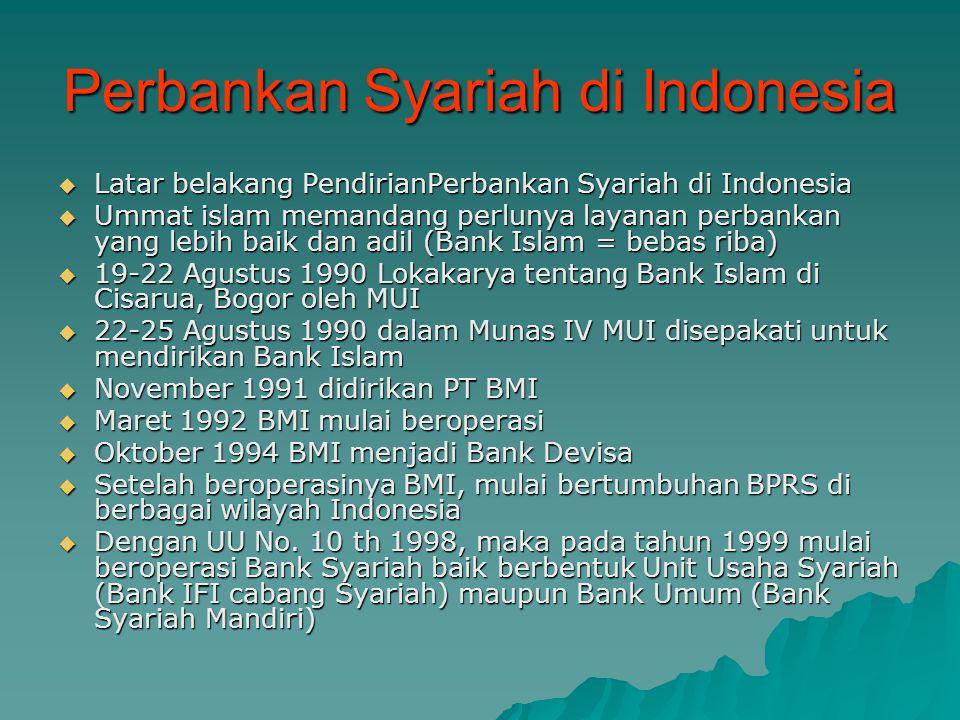 Perbankan Syariah di Indonesia  Tahun 1999 dibentuk Dewan Syariah Nasional (DSN) oleh MUI  Fungsi DSN untuk melaksanakan tugas memajukan ekonomi ummat islam  Tugas DSN : mengkaji, merumuskan nilai dan prinsip hukum islam untuk menjadi pedoman transaksi/implementasi di lembaga keuangan syariah