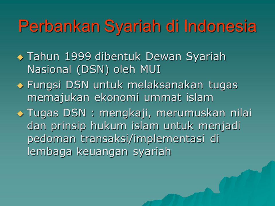 Perbankan Syariah di Indonesia  Tahun 1999 dibentuk Dewan Syariah Nasional (DSN) oleh MUI  Fungsi DSN untuk melaksanakan tugas memajukan ekonomi umm